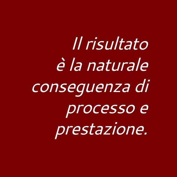 Il risultato è la naturale conseguenza di processo e prestazione